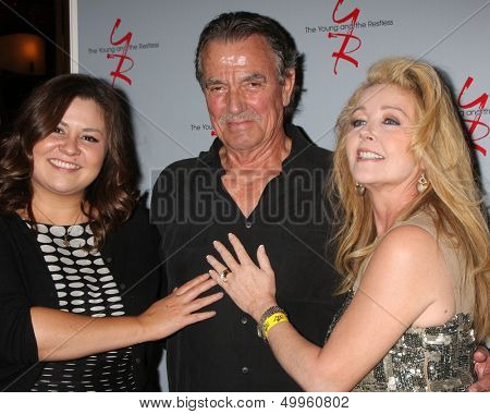 LOS ANGELES - AUG 24:  Angelica McDaniel, Eric Braeden, Melody Thomas Scott at the Young & Restless Fan Club Dinner at the Universal Sheraton Hotel on August 24, 2013 in Los Angeles, CA