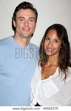 LOS ANGELES - AUG 25:  Daniel Goddard, Christel Khalil at the Goddard and Khalil Fan Event at the Universal Sheraton Hotel on August 25, 2013 in Los Angeles, CA