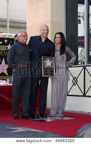 LOS ANGELES - AUG 26:  Ron Meyer, Vin Diesel, Michelle Rodriguez at the Vin DIesel Walk of Fame Star Ceremony at the Roosevelt Hotel on August 26, 2013 in Los Angeles, CA