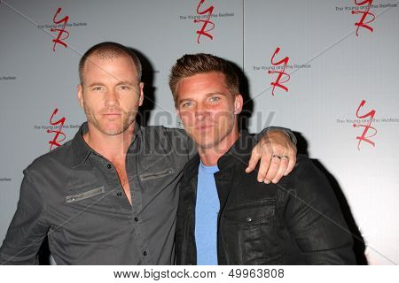 LOS ANGELES - AUG 24:  Sean Carrigan, Steve Burton at the Young & Restless Fan Club Dinner at the Universal Sheraton Hotel on August 24, 2013 in Los Angeles, CA