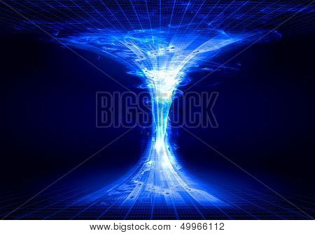 Blue digital funnel against dark background. Technology concept