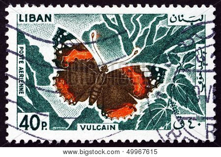 Postage Stamp Lebanon 1965 Red Admiral, Butterfly
