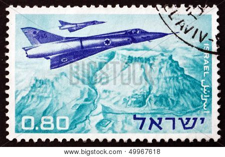 Postage Stamp Israel 1967 Mirage Jet Fighters Over Masada