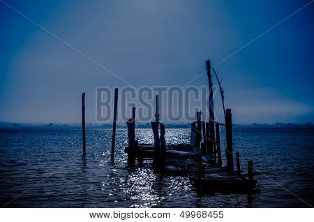 Old Dock Moon Light Reflection