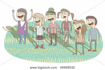 Small Vignette Illustration Of Singing Teenagers