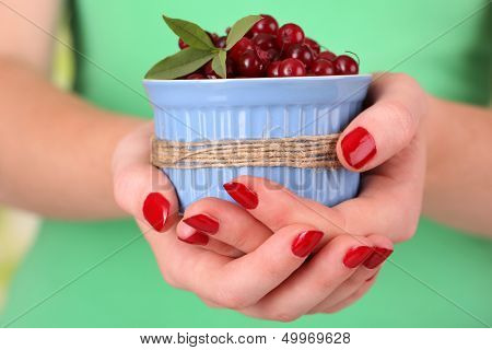Woman hands holding bowl of ripe red cranberries, close up
