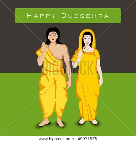 Indian festival Happy Dussehra background with white silhouette of Hindu community Lord Rama with his wife Sita.
