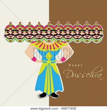 Indian festival Happy Dussehra background with illustration of Ravana with his ten heads.