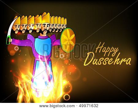Indian festival Happy Dussehra background with statue of Ravana with his ten heads in fire.