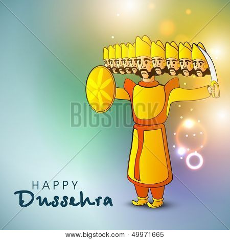 Indian festival Happy Dussehra shiny background with illustration of Ravana with his ten heads.