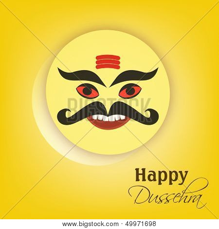 Indian festival Happy Dussehra concept with tag, sticker or label with smiling face of Ravana.