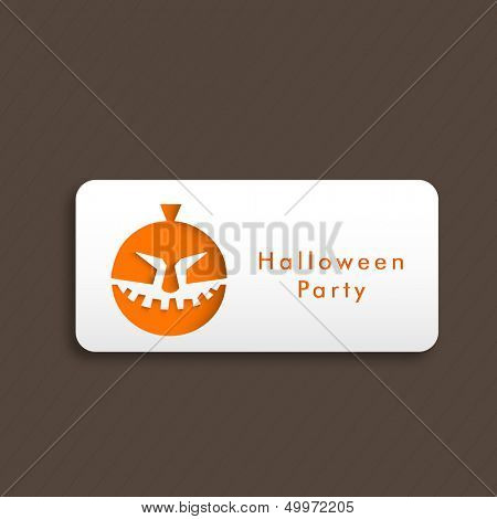 Sticker, tag or label for Halloween night party with halloween pumpkin design.
