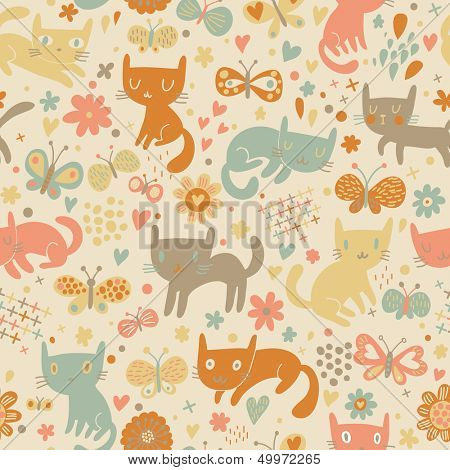 Bright seamless pattern with cats and butterflies in flowers. Seamless pattern can be used for wallpapers, pattern fills, web page backgrounds,surface textures. Gorgeous childish background in vector