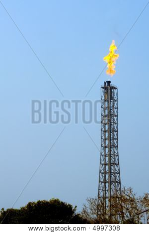 A Flare Stack Burning Off Excess Gas At The Mathura Refinery Near Agra, India