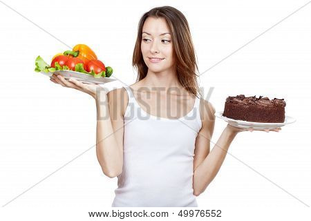 choice between vegetables and chocolate cake
