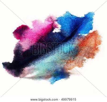 0_watercolor Purple, Blue Splash Isolated Spot Handmade Colored Background Annotation Ink On Paper.j
