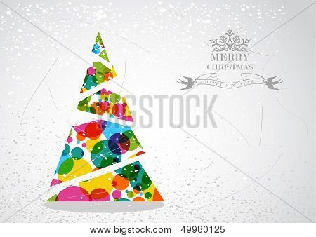 Merry Christmas Colorful Tree Shape Illustration.