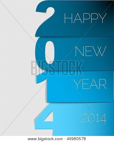Happy New Year 2014 blue vector card