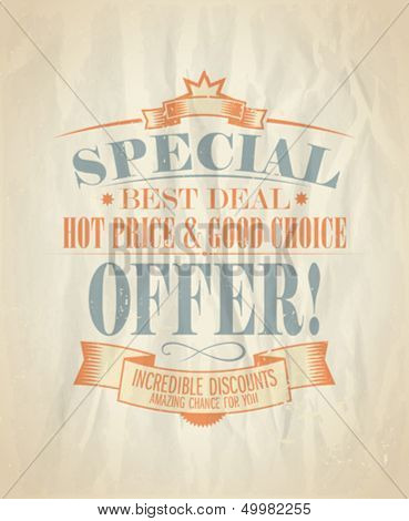 Special offer, incredible discounts design template in retro style. Eps10