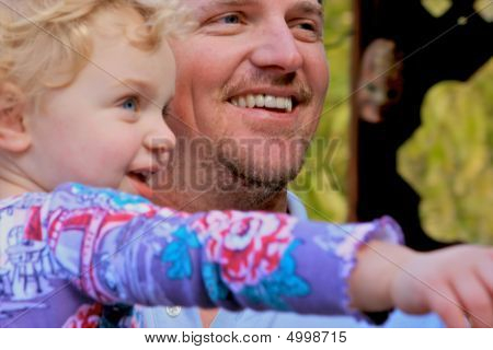 Sweet Little Girl With Her Father