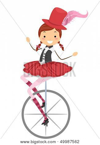Illustration of a Female Circus Performer Riding a Unicycle