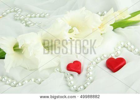 Schöne Gladiole Blumen auf weißem Stoff Hintergrund