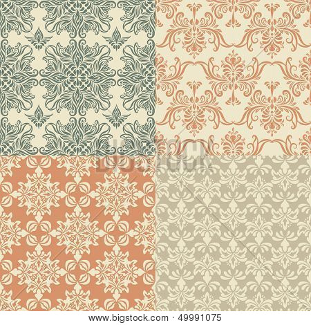 Vector Seamless Vintage Wallpaper Patterns
