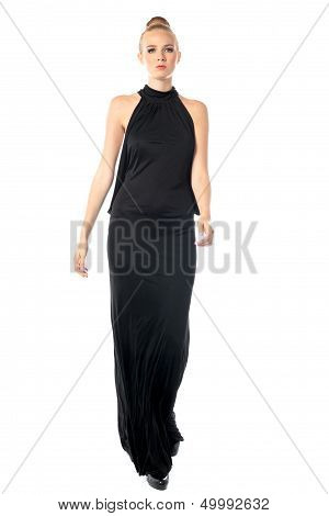 Elegant Woman In A Black Evening Dress