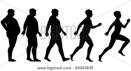 Editable vector silhouette sequence of a man losing weight and gaining fitness through exercise