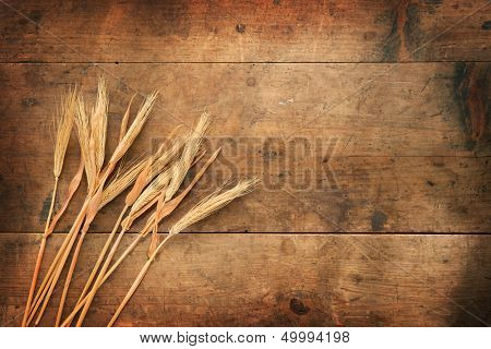 Dried wheat ears and a old wooden background.