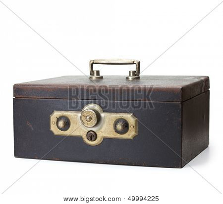 Vintage cash box, isolated on white. Old and rusted metal cash box with two combination dial locks.