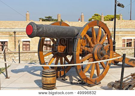 Old gun inside a castle