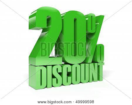 20 percent discount. Green shiny text.