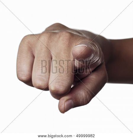 a man index finger pointing to the observer on a white background