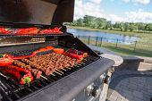 foto of braai  - Shish Kebabs and Chillies being cooked on the barbecue - JPG