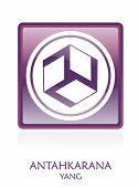 image of antahkarana  - Antahkarana YANG icon Symbol in a violet rounded square - JPG