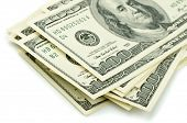 picture of 100 dollars dollar bill american paper money cash stack  - Close up of stack one hundred dollar bills - JPG