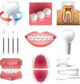 stock photo of dentures  - tooth healthcare and stomatology photo realistic vector set - JPG