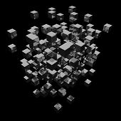 Abstract Background Cubes Explosion On Black