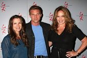 LOS ANGELES - AUG 24:  Melissa Claire Egan, Steve Burton, Catherine Bach at the Young & Restless Fan