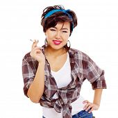 stock photo of teen smoking  - Difficult asian pin - JPG