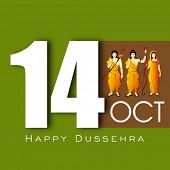 Indian festival Happy Dussehra background with illustration of Hindu community Lord Rama, Sita and L