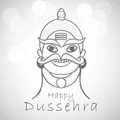 Indian festival Happy Dussehra background with illustration of Ravana.