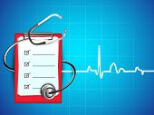 picture of prescription pad  - Medical background with stethoscope and doctors prescription pad on heartbeat symbol background - JPG