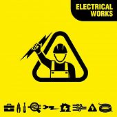stock photo of lineman  - Electrical works - JPG