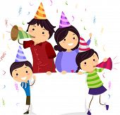 picture of stickman  - Banner Illustration of a Stickman Family Wearing Party Hats and Blowing Noisemakers - JPG