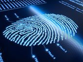 stock photo of fingerprint  - Fingerprint scanning technology on pixellated screen  - JPG