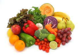 stock photo of vegetable food fruit  - colorful fresh group of fruits and vegetables for a balanced diet - JPG