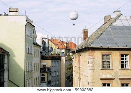 Hot Air Balloon Over The Prague