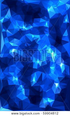 Blue Polygonal Abstract With Stars